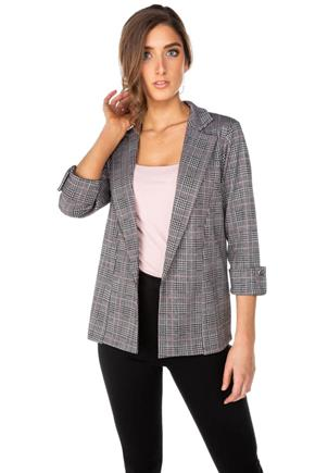 Beatrix Plaid Blazer with Roll-Up Sleeves