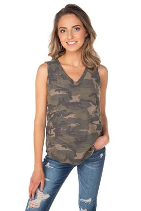 Camouflage Sleeveless V-Neck