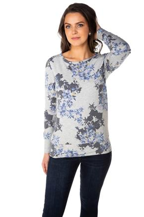 Floral Sweatshirt with Criss Cross Back