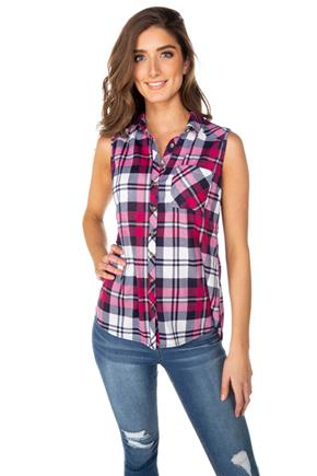 Pink Plaid Sleeveless Shirt