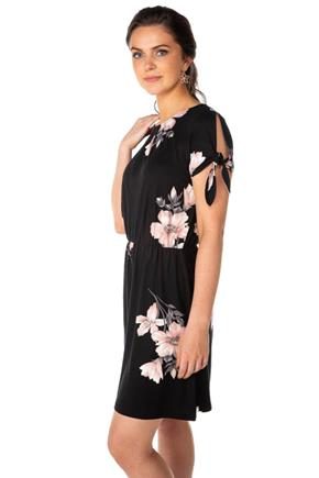 Floral Cold-Shoulder Short Sleeve Dress
