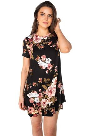 Floral Short Sleeve Swing Dress