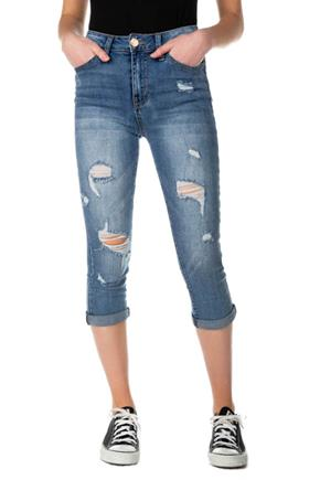 YMI Destructed Dark Wash Mid-Rise Capri