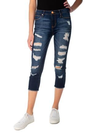 Almost Famous Dark Wash Mid-Rise Destructed Capri
