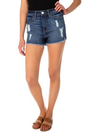 Almost Famous Dark Wash Super High-Rise Distressed Short