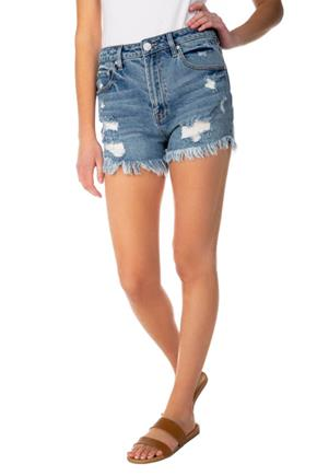 Almost Famous Mid-Wash Distressed Mom Short