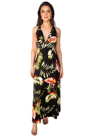 Tropical Maxi Dress with High Slits