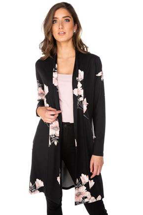 Black Floral Long Sleeve Cardigan