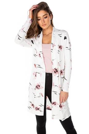 White Floral Long Sleeve Cardigan