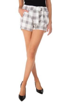 Plaid Pleated Short with Tie-Belt