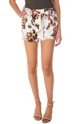 Floral Pleated Short with Tie-Belt