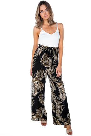 Tropical Leaves Paperbag Wide Leg Jumpsuit
