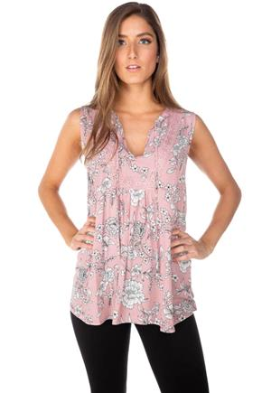 Floral Sleeveless Tunic with Crochet Trim