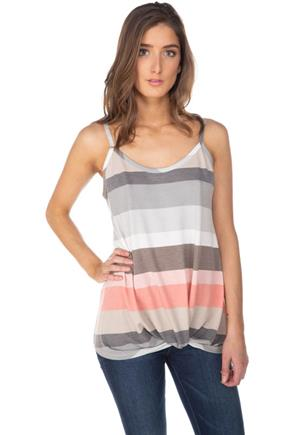 Stripe Spaghetti Strap Tank with Knotted Hem