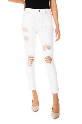 Almost Famous White Destructed High-Rise Skinny Jean