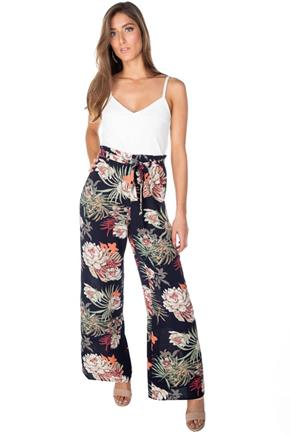 Tropical Floral Paperbag Wide Leg Jumpsuit