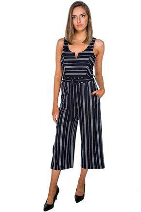 Stripe Sleeveless Culotte Jumpsuit