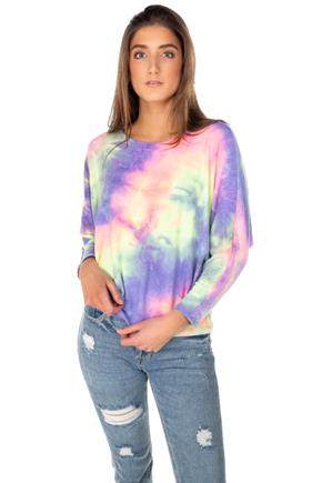 Tie-Dye Dolman Sleeve Sweater