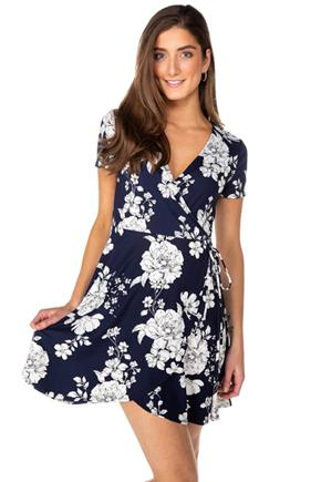 Floral Short Sleeve Crossover Skater Dress