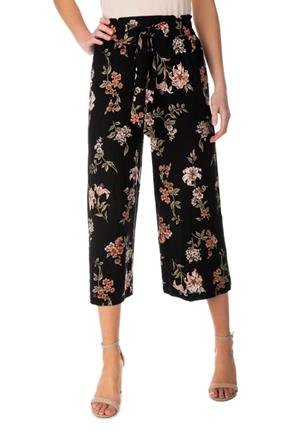 Floral Culotte Pant with Tie-Belt