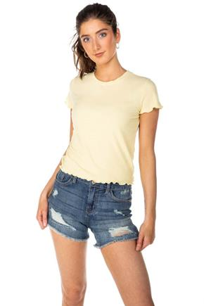 Ribbed Crop Tee with Lettuce Edge