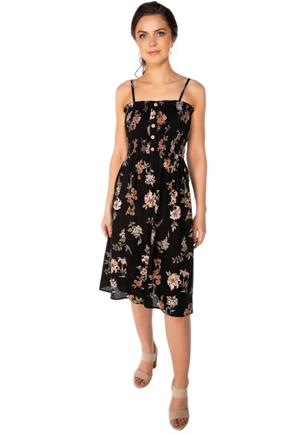 Floral Midi Dress with Smocked Top