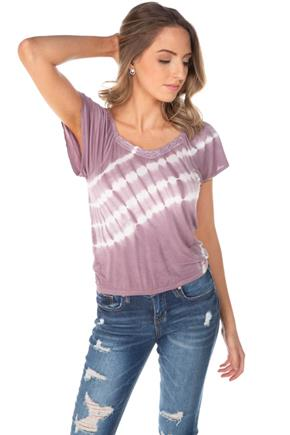 WallFlower Tie-Dye Top with Flutter Sleeves