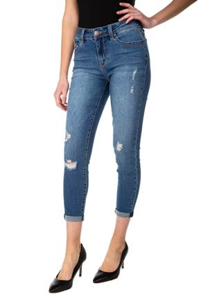 "YMI ""Wannabettabutt"" Distressed Medium Wash Crop Jean"