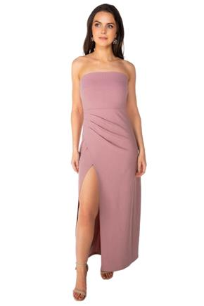 Strapless Maxi Dress with Ruched Side