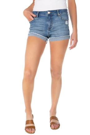 Celebrity Pink Xavier Wash Distressed Short with Frayed Turned-Up Cuffs