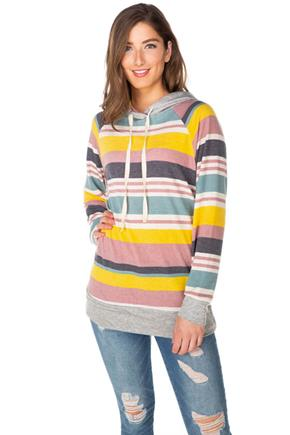 Stripe Hoodie with Solid Trims
