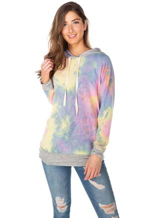 Tie-Dye Hoodie with Solid Trims