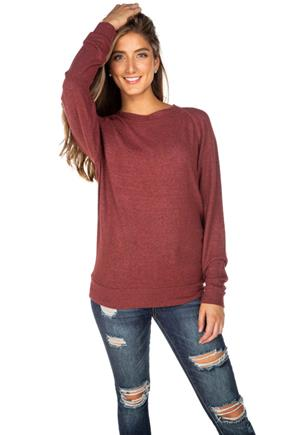 SuperSoft Long Sleeve Sweater with Flatlock Stitching