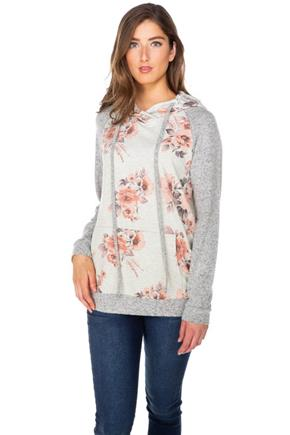 Floral French Terry Hoodie with Supersoft Sleeves