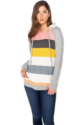 Stripe French Terry Hoodie with Supersoft Sleeves