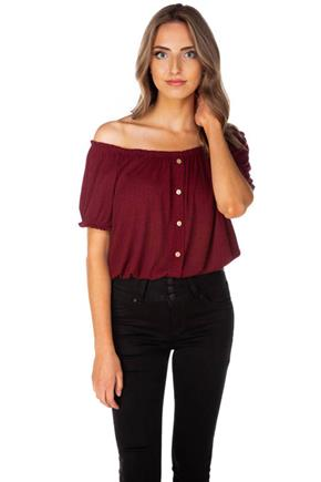 Ribbed Peasant Top with Buttons