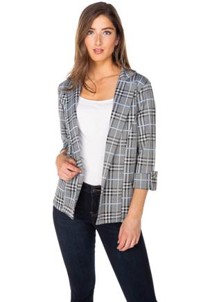 Jessica Plaid Blazer with Roll-Up Sleeves
