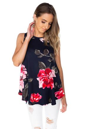 Sleeveless Tunic with Large Floral Pattern
