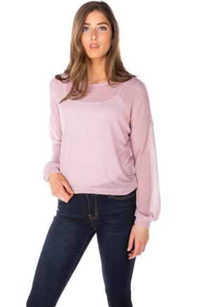 Balloon Sleeve Crewneck Crop Sweater