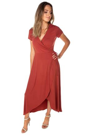 Cap Sleeve Crossover High-Low Dress