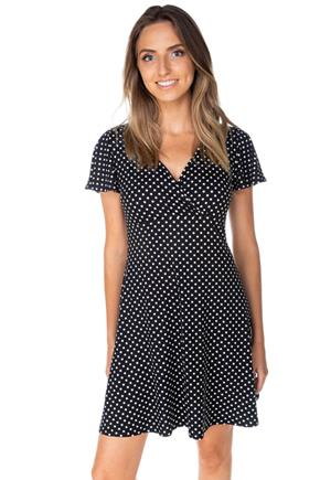 Polka Dot Crossover Skater Dress