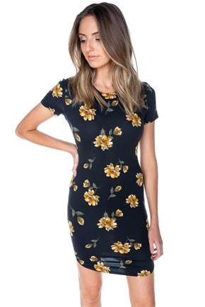 Black Floral Bodycon Dress with Shirttail Hem