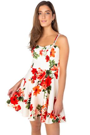 Floral Multi Strap Skater Dress with Open Back
