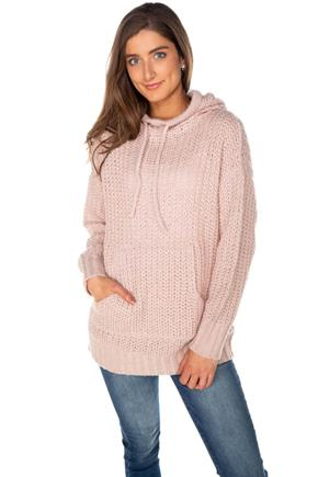 Knitted Tunic Length Hoodie