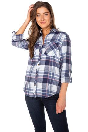 Robyn Plaid Flannel Shirt with Two Chest Pockets