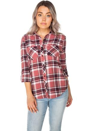 Sophie Plaid Flannel Shirt with Two Chest Pockets