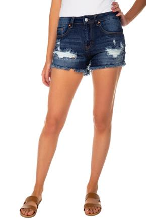 Almost Famous Dark Wash High-Rise Distressed Short
