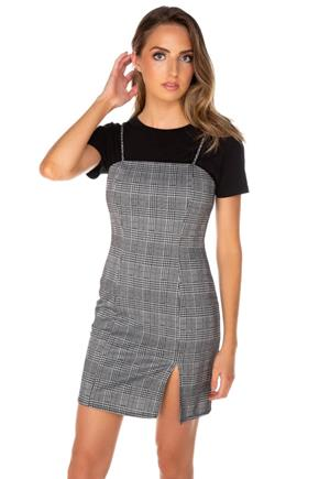 Plaid Spaghetti Strap Dress with Side-Slit