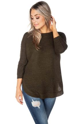 3/4 Sleeve Crewneck Sweater with Round Hem
