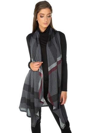Plaid Waterfall Vest with Pockets